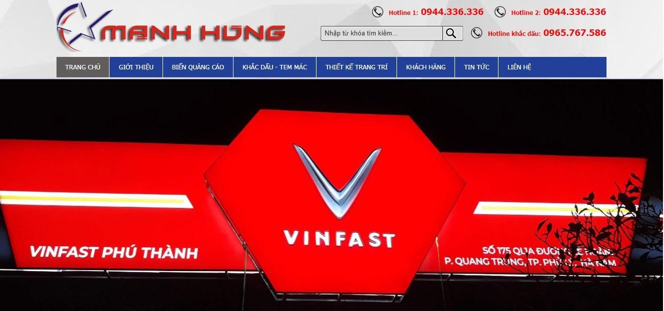 Công ty thi công bảng hiệu quảng cáo Mạnh Hùng
