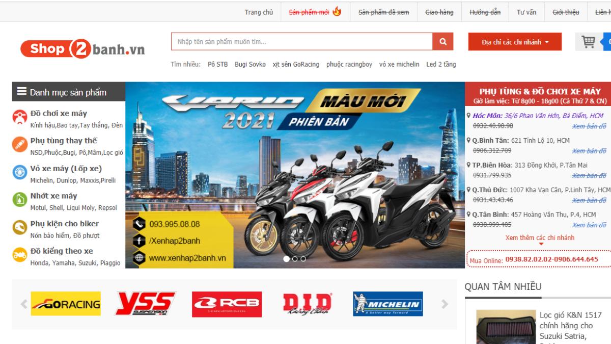 Địa chỉ bán phụ tùng đồ chơi mô tô Shop2banh