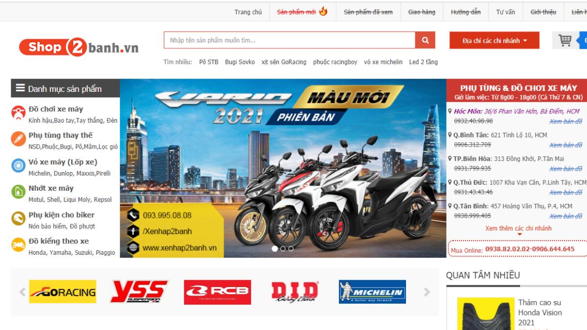 Cửa hàng phụ kiện mô tô xe máy Shop2banh